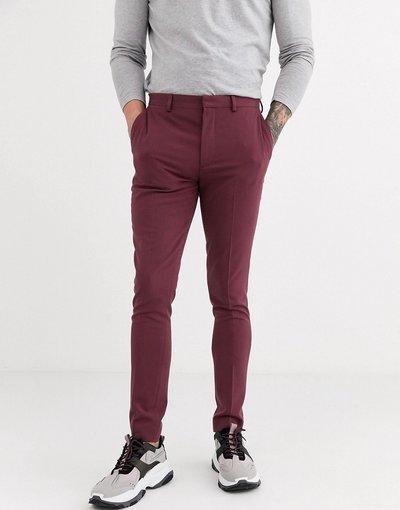 Rosso uomo Pantaloni eleganti super skinny vinaccia - ASOS DESIGN - Rosso