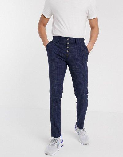 Pantalone Verde uomo Pantaloni skinny eleganti blu navy con tratteggio incrociato e bottoni - ASOS DESIGN - Verde