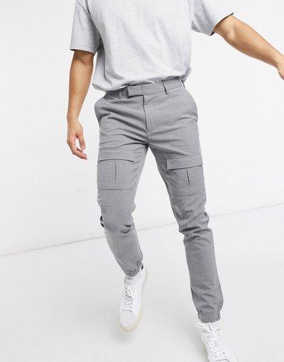 Grigio uomo Pantaloni grigi skinny eleganti con tasche cargo sul davanti - ASOS DESIGN - Grigio