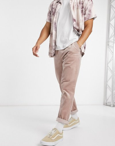 Pantalone Rosa uomo Pantaloni slim a coste rosa slavato - ASOS DESIGN