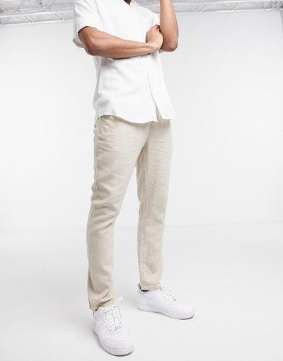 Pantalone Beige uomo Pantaloni slim beige in lino - ASOS DESIGN