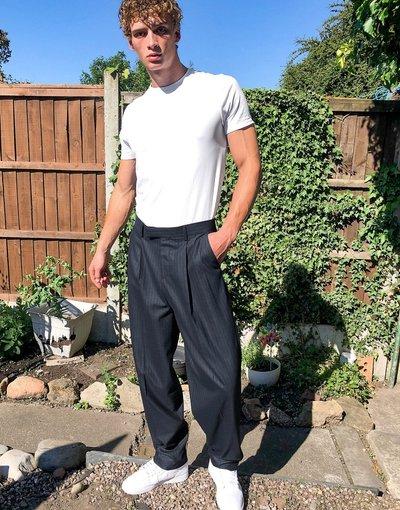 Navy uomo Pantaloni slim eleganti blu navy a vita alta - ASOS DESIGN