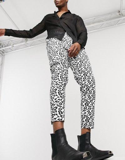 Pantalone Bianco uomo Pantaloni stretti in fondo con stampa leopardata - ASOS DESIGN - Bianco