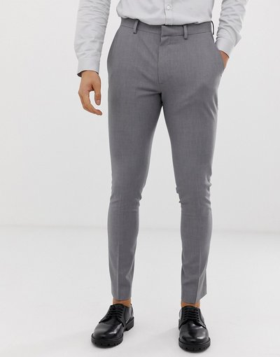 Grigio uomo Pantaloni super skinny eleganti grigi - ASOS DESIGN - Grigio