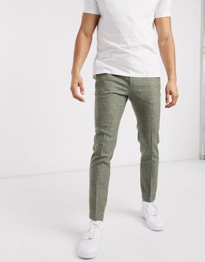 Grigio uomo Pantaloni super skinny eleganti pied de poule verde medio - ASOS DESIGN - Grigio