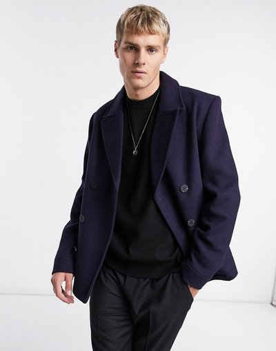 Navy uomo Peacoat doppiopetto in misto lana blu navy - ASOS DESIGN