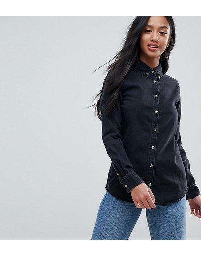 Camicia Nero donna Camicia di jeans nero délavé - ASOS DESIGN Petite