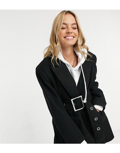 Nero donna Cappotto con collo serafino e cintura con occhielli nero - ASOS DESIGN Petite