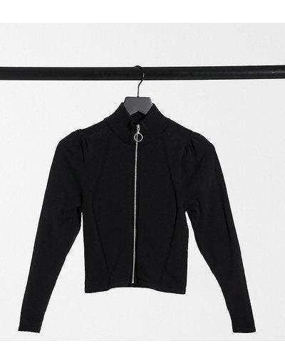 Maglione cardigan Nero donna Cardigan con zip e maniche a sbuffo nero - ASOS DESIGN Petite