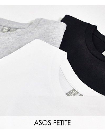T-shirt Multicolore donna shirt in cotone organico girocollo - ASOS DESIGN Petite - Confezione da 3 T - Multicolore - RISPARMIA