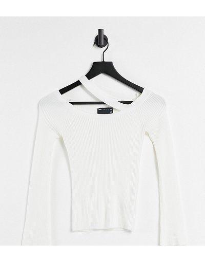 Bianco donna Maglione bianco con spalle scoperte e dettaglio con fascetta - ASOS DESIGN Petite