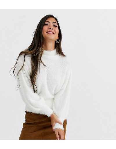 Bianco donna Maglione cigliato con maniche a sbuffo - ASOS DESIGN Petite - Bianco