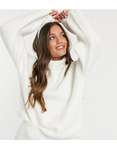 Crema donna Maglione lungo soffice con collo alto - ASOS DESIGN Petite - Crema