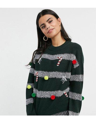 Nero donna Maglione natalizio verde con addobbi e palline - ASOS DESIGN Petite - Nero