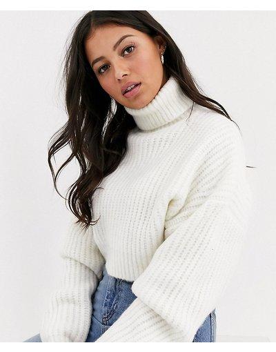 Bianco donna Maglione oversize molto corto con collo alto - ASOS DESIGN Petite - Bianco