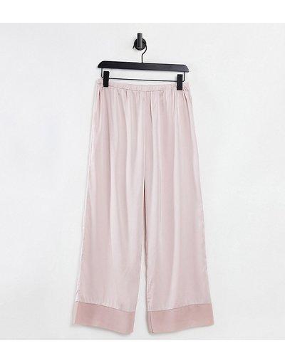 Pigiami Neutro donna Pantaloni del pigiama Mix and Match in raso color visone con bordo a contrasto - ASOS DESIGN Petite - Neutro