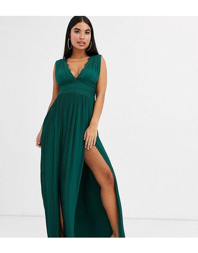 Verde donna Vestito lungo a pieghe con inserti in pizzo verde bosco - ASOS DESIGN Petite - Premium