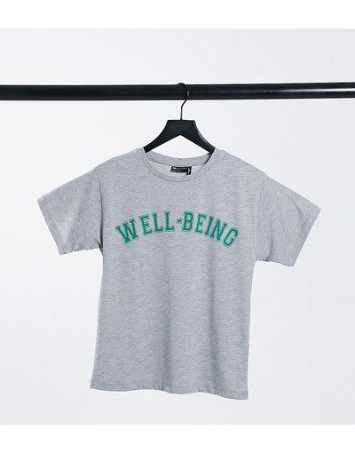 T-shirt Grigio donna shirt grigio mélange con scrittaWell - beingin stile college - ASOS DESIGN Petite - T