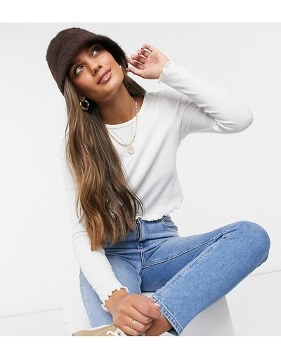 T-shirt Bianco donna Top a maniche lunghe sllim bianco con estremità smerlate - ASOS DESIGN Petite