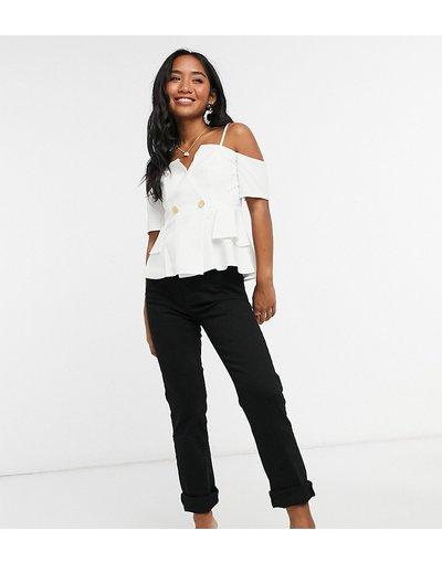 Camicia Bianco donna Top a portafoglio stile smoking con bottoni avorio - ASOS DESIGN Petite - Bianco