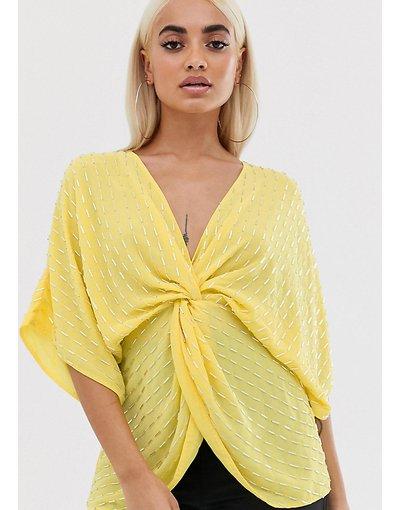 Camicia Giallo donna Top con perline e paillettes annodato sul davanti - ASOS DESIGN Petite - Giallo