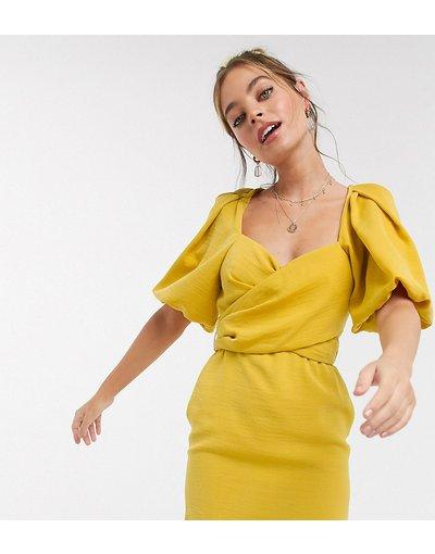 Giallo donna Vestito a portafoglio corto con maniche a sbuffo senape - ASOS DESIGN Petite - Giallo