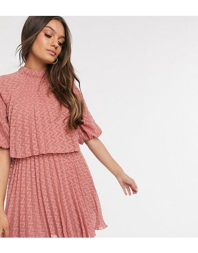 Rosa donna Vestito corto accollato con doppio strato a pieghe in plumetis a spina di pesce rosa tea - ASOS DESIGN Petite