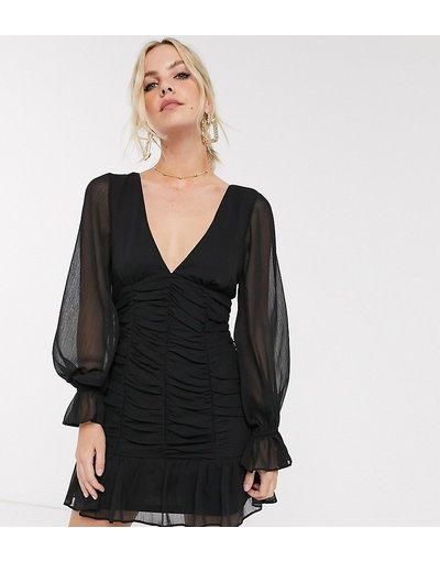 Nero donna Vestito corto con corpetto arricciato - ASOS DESIGN Petite - Nero