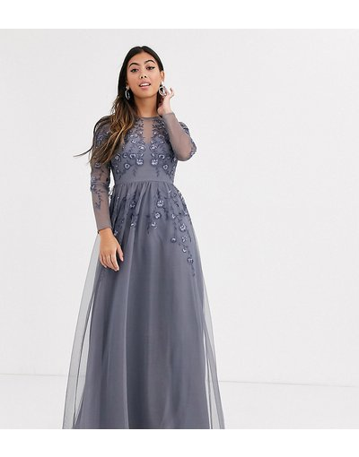 Blu donna Vestito lungo a maniche lunghe in rete ricamata - ASOS DESIGN Petite - Blu