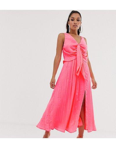Rosa donna Vestito lungo a pieghe con nodo davanti - ASOS DESIGN Petite - Rosa