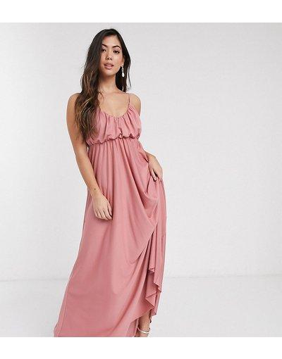 Multicolore donna Vestito lungo con scollo profondo, spalline sottili e top sblusato rosa tenue - ASOS DESIGN Petite - Multicolore