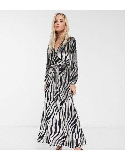 Multicolore donna Vestito lungo zebrato in velluto - ASOS DESIGN Petite - Multicolore