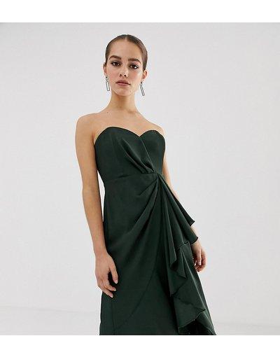 Verde donna Vestito midi a fascia strutturato con drappeggio sul davanti - ASOS DESIGN Petite - Verde