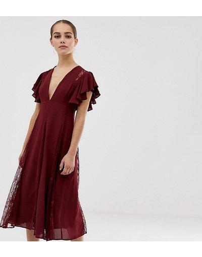 Rosso donna Vestito midi con inserti in pizzo godet - ASOS DESIGN Petite - Rosso
