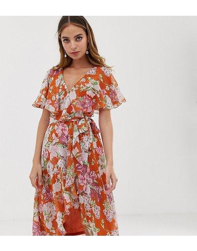 Multicolore donna Vestito midi con mantellina e taglio asimmetrico rosso a fiori - ASOS DESIGN Petite - Multicolore