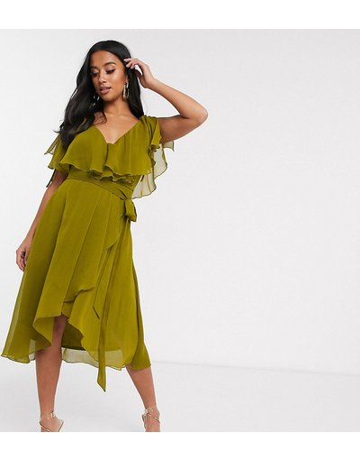 Verde donna Vestito midi con spacco sulle maniche, retro a mantella e laccetti sulle spalle - ASOS DESIGN Petite - Verde