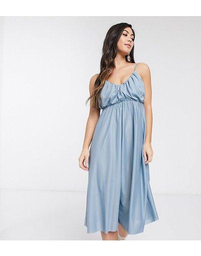 Multicolore donna Vestito midi con spalline sottili scollo profondo e top a blouson blu crepuscolare - ASOS DESIGN Petite - Multicolore