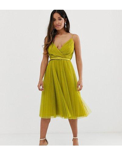 Verde donna Vestito midi in tulle a pieghe con cintura e spalline - ASOS DESIGN Petite - Verde