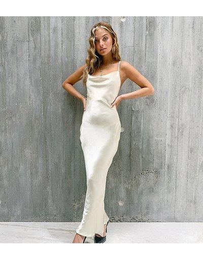 Beige donna Vestito slip lungo con spalline sottili e retro stringato in raso lucido - ASOS DESIGN Petite - Beige