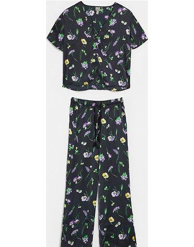 Pigiami Nero donna Pantaloni e camicia in raso a fiori - ASOS DESIGN Petite - Wild Flower - Nero