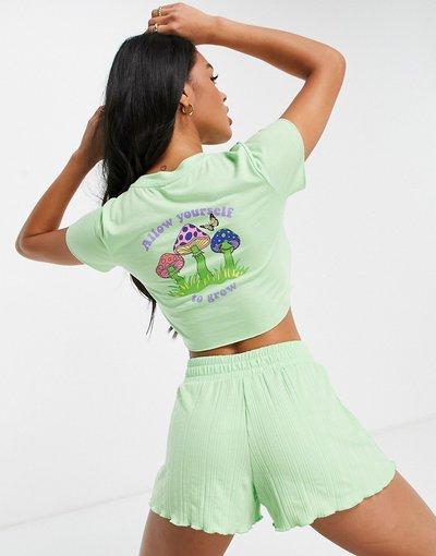 Pigiami Verde donna Pigiama composto da top in jersey e pantaloncini a coste color menta con stampa di funghi - ASOS DESIGN - Verde