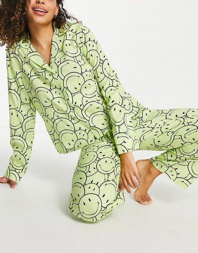 Pigiami Verde donna Pigiama con camicia a maniche lunghe e pantaloni in cotone con stampa con smile, color lime - ASOS DESIGN - Verde