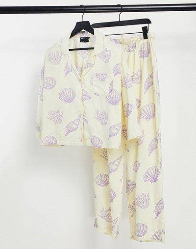 Pigiami Giallo donna Pigiama con camicia a maniche lunghe e pantaloni in modal giallo con stampa con conchiglie - ASOS DESIGN