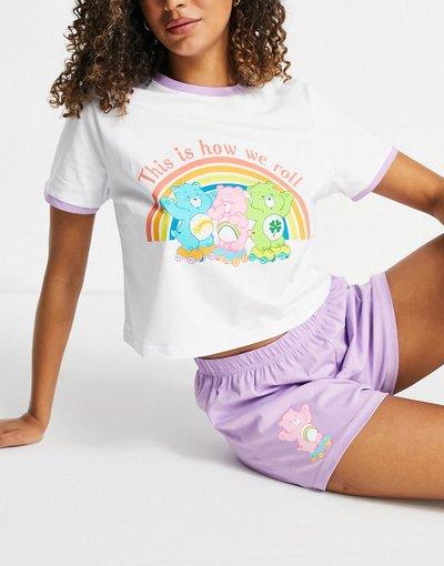 Pigiami Multicolore donna Pigiama con maglietta Care Bears e pantaloncini bianco e lilla - ASOS DESIGN - Multicolore