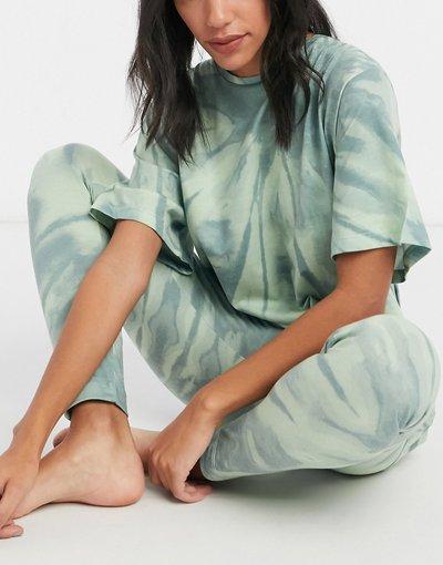 Pigiami Verde donna Pigiama con maglietta oversize e leggings in tie - ASOS DESIGN - dye verde