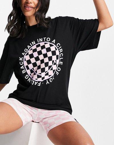 Pigiami Multicolore donna shirt con faccina sorridente e pantaloncini a quadri nero e rosa - Pigiama con T - ASOS DESIGN - Multicolore