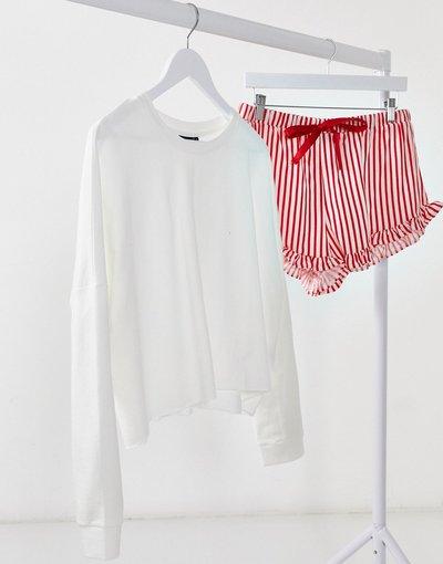 Pigiami Multicolore donna Pigiama corto con felpa extra larga e pantaloncini bianco e rosso a righe - ASOS DESIGN - Multicolore