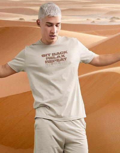Pigiami Beige uomo Pigiama da casa con pantaloncini e T - shirt stampata - ASOS DESIGN - Beige