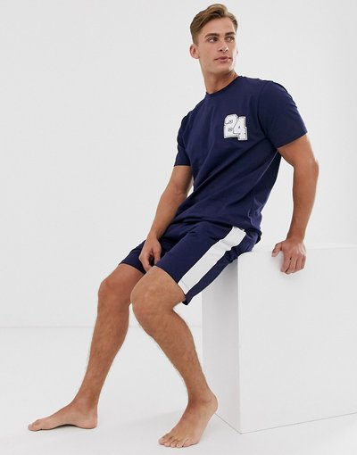 Pigiami Navy uomo shirt con numero stile college ed elastico firmato - Pigiama da casa pantaloncini e T - ASOS DESIGN - Navy
