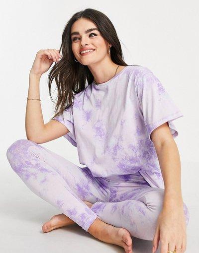Pigiami Multicolore donna dye blu e lilla con maglietta e leggings - Pigiama effetto tie - ASOS DESIGN - Multicolore